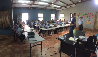 About to begin our class to nursing students at Clinica Salvatore in Palin, Guatemala