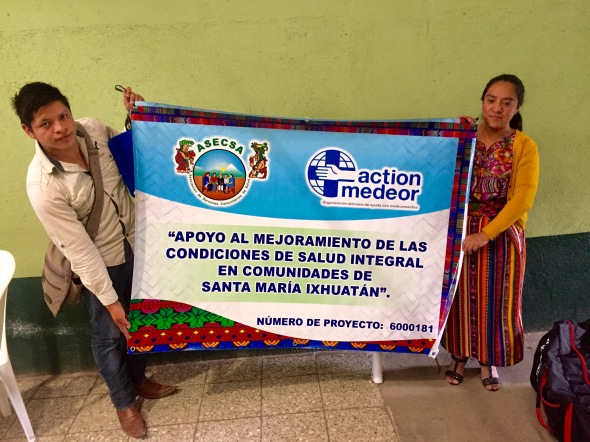 Banner of the ASECSA chapter from Santa María Ixhuatán: Supporting the improvement of integral health conditions en the communities of Santa María Ixhuatán.